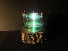 CD/DVD-Lampe mit LED`s und Birkensockel von Jochens-Elch-O-Thek auf DaWanda.com