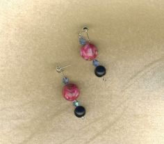 CHEAPLY PRICED. $7.50. FREE NECKLACE WITH EVERY PURCHASE!  Silver-Plated Mother of Pearl / Glass Pearl with Bicone Glass Earrings. These Bicone Crystals have the flash of a diamond.