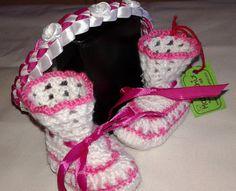 Patucos zapatos de bebe con diadema  baby bebe shoes por Marivinix