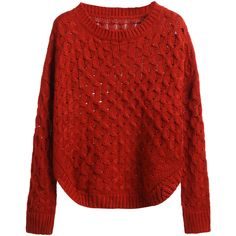 SheIn(sheinside) Brick Red Curved Hem Eyelet Sweater ($24) ❤ liked on Polyvore featuring tops, sweaters, loose pullover sweater, chunky cable knit sweater, long sleeve sweater, loose sweater and long sleeve pullover