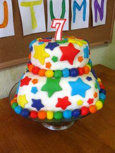 Vegan rainbow marshmallow fondant cake.