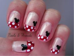 Mickey Mouse Nail Art - I did this on my toes, but with yellow instead of red - Perfect for vaca!