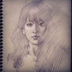 www.freshdesigner.com head sketch / portrait sketch by Chris Legaspi. Ballpoint pen on toned paper.