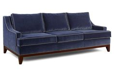 "Dallas 88"" Patterned-Trim Sofa, Navy"