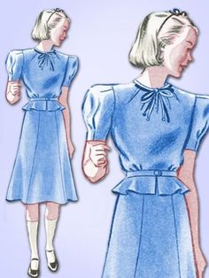 1930s Original Charming Unused Little Girls Peplum Dress Pattern Sz 10 | eBay