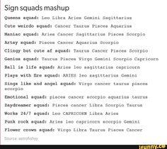 zodiac would squads -Gemini Star Pisces, Aquarius And Scorpio, Cancer And Pisces, Virgo Horoscope, Zodiac Horoscope, Capricorn Facts, Pisces Quotes, Zodiac Sign List, Zodiac Signs Leo
