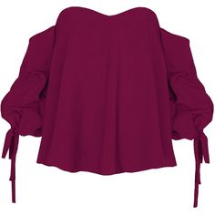 Plum Ruched Balloon Sleeve OTS Top (16.300 HUF) via Polyvore featuring tops, zip top, balloon sleeve top, rouched top, plum top and purple off shoulder top
