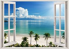 "Tropical Beach Ocean 3D Removable Vinyl Wall Sticker Mural Decal Home Window Large 33.5"" x 47"" Bomba-Deal http://www.amazon.com/dp/B00O906DFS/ref=cm_sw_r_pi_dp_-6hnub1XP3707"