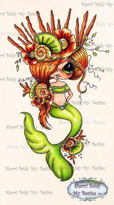 INSTANT DOWNLOAD 2  Digital Digi Stamps Shaded one BW line art Digi Big Eye Big Head Dolls Digi  Mermaid Kissing Fish IMG412 By Sherri Baldy
