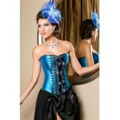 $25.49 Lovely Front Embroidery and Bow Blue Satin Corset