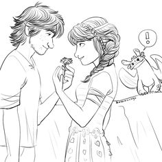 Hiccup being sweet giving Astrid a flower. And Toothless looking confused in the background. Lol. Cute Hiccstrid. :)
