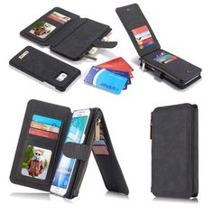CaseMe Vintage Leather Multifunctional Detachable Zipper Wallet Case For Samsung Galaxy S6