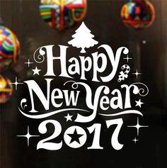 Estilo de la navidad Feliz Año Nuevo 2017 pegatinas de pared de Navidad Árbol de Navidad la decoración del hogar tienda de ventana calcomanía etiqueta adhesiva nave de la gota