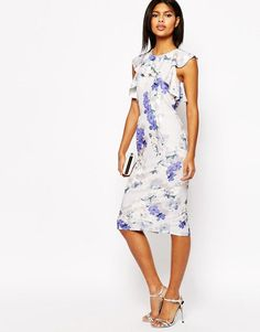 ASOS | ASOS Ruffle Pencil Dress In Occasion Floral Print at ASOS