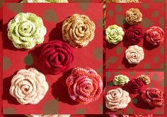 This is one of my creations. If you like you can download the free pattern here:Rose_Brooch by DanielaHIf you make one I would love to see your project pictures. If you are on Ravelry you can a...