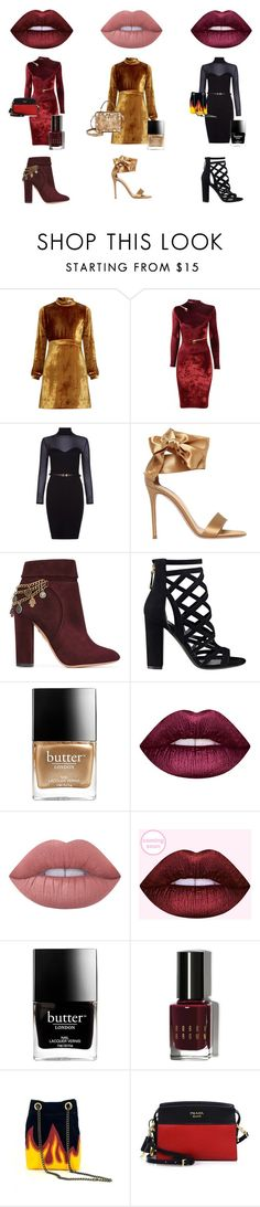 """""""Queens"""" by paige-panozzo ❤ liked on Polyvore featuring A.L.C., Agent Provocateur, Lipsy, Gianvito Rossi, Aquazzura, GUESS, Butter London, Lime Crime, Bobbi Brown Cosmetics and Prada"""