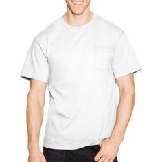 Hanes Men's Tagless Short Sleeve Pocket T-shirt, Size: XL, White