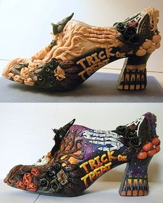 Halloween shoe in polymer clay