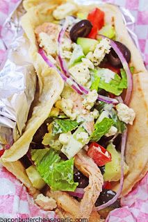 Bacon, Butter, Cheese & Garlic: Chicken Gyros...with homemade pita bread that is amazing!
