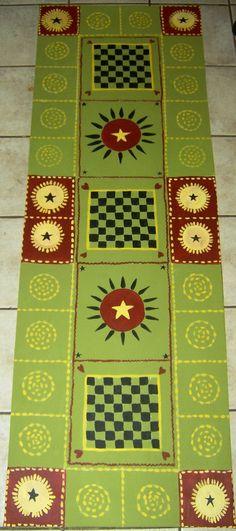 Country Folk Art Floor cloth  - Hand painted Painted Floor Cloths, Painted Rug, Painted Floors, Painted Furniture, Hand Painted, Floor Art, Floor Rugs, Ceiling Murals, Porch Flooring