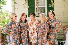 Gray Bridesmaids Robes Sets. Kimono Crossover Robe. by silkandmore