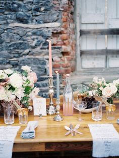 gorgeous pink wedding table | Photography by trentbailey.com Coordination + Styling by firefly­events.com/ Floral Design by poppiesandposies.com/  Read more - http://www.stylemepretty.com/2013/07/08/salvato-mill-photo-shoot-from-trent-bailey-photography-firefly-events/