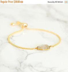 Holiday Sale - Golden Rutilated Bracelet, Charm Bracelet, Gemstone bracelet, Birthstone bracelet, Adjustable bracelet, Chain and Charm