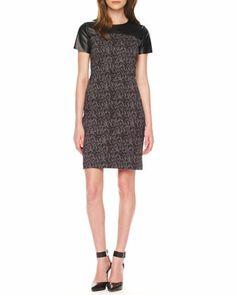 MICHAEL Michael Kors Printed Leather-Top Dress - Neiman Marcus