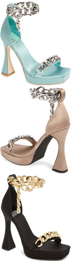 Gleaming chain links add modern glamour to a standout satin sandal set on a lofty flared heel Embellished Sandals, Studded Sandals, Ankle Strap Sandals, Open Toe Booties, Lace Up Booties, Balmain Boots, Hiking Fashion, Chain Links, Crazy Shoes