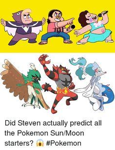 Steven universe found sun and moon starters Pokemon