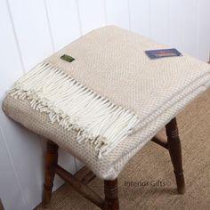 Beehive beige Tweedmill pure new wool throw / blanket, honeycomb weave similar to herringbone style rug Cream Sofa, Sofa Blanket, Vanity Bench, Honeycomb, Home Decor Inspiration, Herringbone, Weaving, Beige, Pure Products