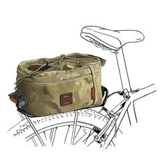 A mostly-padded waxed canvas bag that mounts to a bike rack. Keep your junk in a trunk on a bike. Made at Frost River in Duluth, Minnesota and guaranteed for life. Bicycle Rear Rack, Bicycle Bag, Pin Up Illustration, Bike Trails, Biking, Waxed Canvas Bag, Vintage Bikes, Brass Buckle, Tricycle