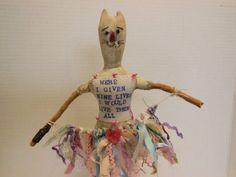 outsider artist folk art doll found object twig doll by AgoVintage