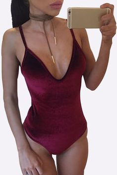Burgundy Velvet V-neck Backless Spaghetti Bodysuit - US$13.95 -YOINS