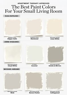 The Best Paint Colors for a Small Living Room. From creams, to dark grays, to off-whites, there are a lot of options to play with! How to Properly Furnish a Small Living Room. small living room ideas For more information, visit image link. Best Paint Colors, Paint Colors For Home, Paint Colours, Small Bedroom Paint Colors, Off White Paint Colors, Small Bathroom Colors, Painting Small Rooms, Cream Paint Colors, Modern Paint Colors