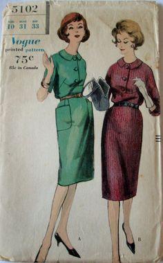 Vogue 5102 Womens One Piece Dress 1960s Sewing by Denisecraft, $15.99