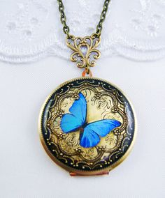 Blue Butterfly Vintage Gold Plated Locket. by Silverbird1Jewelry, £25.00