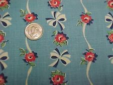 Vintage Antique Cotton Quilt Doll Fabric Print 1920s Roses Remnant Ribbons RARE