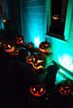 Jack-o-Lanterns, look at all their happy faces!