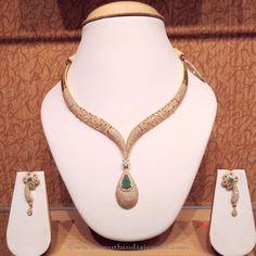 Latest Model CZ Stone Necklace Sets, Gold CZ Stone Necklace Sets, Fancy Gold CZ…