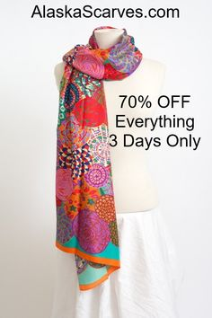 "Must use this code ""70% OFF"" 100% Silk. Lightweight and soft, perfect for all seasons. https://www.alaskascarves.com/products/colorful-silk-scarf-orange. Dimensions: 34""x 69"""