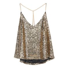 SheIn(sheinside) Criss Cross Sequined Cami Top (41.045 COP) ❤ liked on Polyvore featuring tops, shirts, tank tops, tanks, gold, brown shirts, cami tank tops, sexy shirts, gold sequin top and sequin tank top
