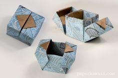 Origami Hinged Box Video Tutorial #origami #origamibox #tutorial #instructions #crafts #diy