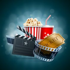 Movie time design elements vector backgrounds 05