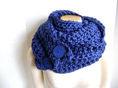 This Super Chunky Scarf is hand crocheted by me in a classic sapphire navy blue with giganto matching buttons to close any way you like! Lots