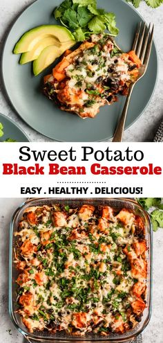 A family-friendly Mexican-inspired enchilada casserole recipe, that's as tasty as it is healthy. This easy Sweet Potato Black Bean Casserole is made with corn tortillas, sweet potatoes, tomatoes, blac Vegetarian Recipes Dinner, Vegan Dinners, Veggie Recipes, Whole Food Recipes, Whole Foods, Healthy Black Bean Recipes, Pasta Recipes, Vegetarian Recipes For Families, Recipes With Canned Beans