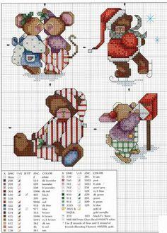 Cross-stitch Christmas Mice, part 5 Cross Stitch Christmas Ornaments, Xmas Cross Stitch, Cross Stitch Boards, Cross Stitch Love, Cross Stitch Animals, Christmas Cross, Counted Cross Stitch Patterns, Cross Stitch Designs, Cross Stitching