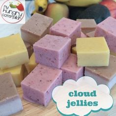 Delicious, nutritious and oh so kidfriendly! Cloud Jellies- a guest post by nutritionist Juliette Francois. Awesome yummy treat with no nasties! Gelatin Recipes, Jelly Recipes, Baby Food Recipes, Sweet Recipes, Snack Recipes, Cooking Recipes, Detox Recipes, Summer Recipes, Crockpot Recipes