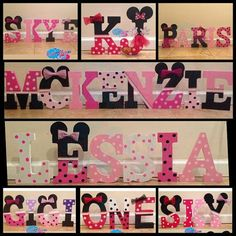 Minnie Mouse Wooden Letters by CreativeDreamsEvents on Etsy Painting Wooden Letters, Paper Mache Letters, Diy Letters, Letter A Crafts, Wood Letters, Minnie Mouse Baby Shower, Mickey Minnie Mouse, Letter Standee, Mickey Mouse Birthday