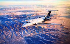 Download wallpapers Embraer Legacy 450, 4k, private jet, passenger airplane, Embraer